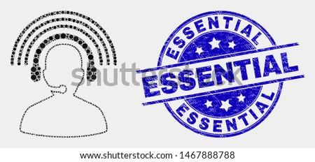 Pixelated radio operator mosaic pictogram and Essential stamp. Blue vector rounded scratched seal stamp with Essential caption. Vector composition in flat style. Сток-фото ©