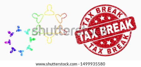 Pixelated rainbow gradiented people collaborations mosaic pictogram and Tax Break seal. Red vector rounded grunge seal with Tax Break caption. Vector combination in flat style. Stock photo ©