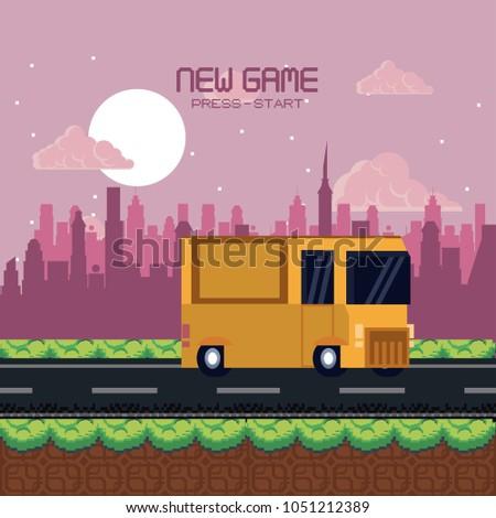pixelated urban videogame