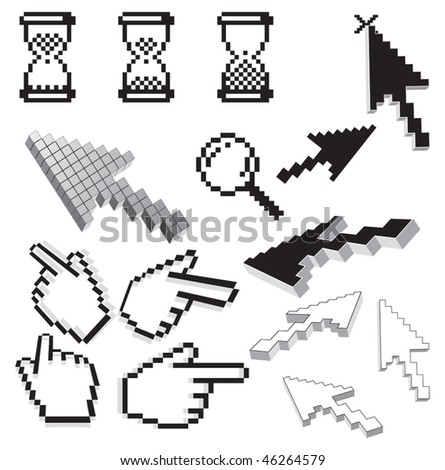 Pixelated vector retro icons and arrows signs