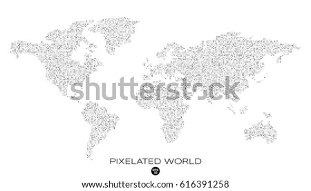 Free vector pixel world map download free vector art stock pixelated world map with noised black and white pixels vector illustration gumiabroncs Choice Image