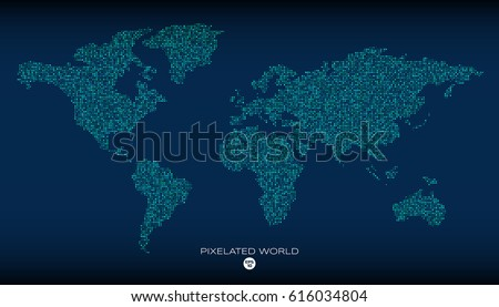 Free vector pixel world map download free vector art stock pixelated world map with noised pixels coloring vector illustration gumiabroncs Choice Image
