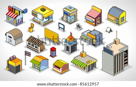 Pixels Art isometric buildings