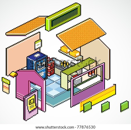 Pixels Art isometric vector of  buildings shop detail - stock vector