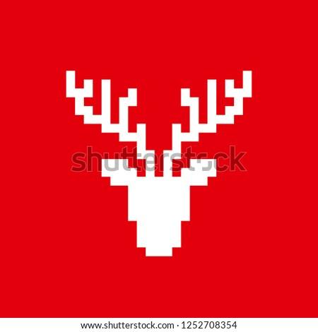 pixels, 8 bits, deer head, horns, vector