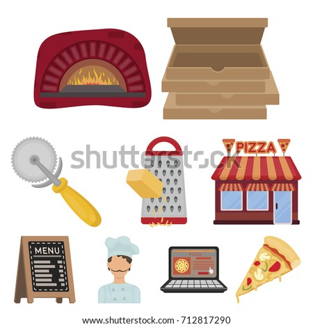 pizza and pizzeria set icons in
