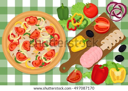 Pizza And Vegetables On A Table. Cutting Board With Tomatoes, Pepper,  Cucumber,