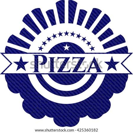 Pizza badge with denim texture