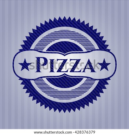 Pizza badge with jean texture