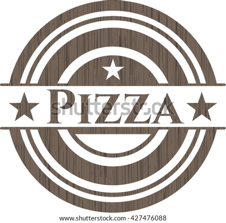 Pizza badge with wooden background