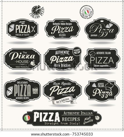 pizza badges and labels retro...