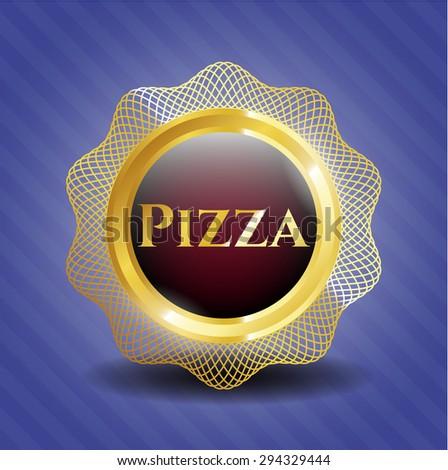 Pizza black shiny badge