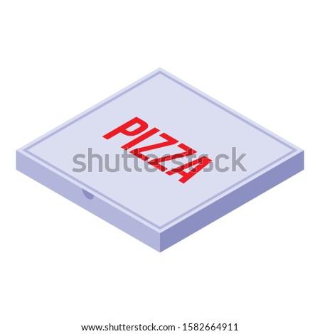 Pizza carton box icon. Isometric of pizza carton box vector icon for web design isolated on white background