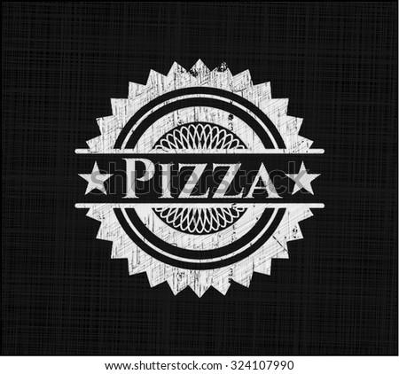 Pizza chalk emblem