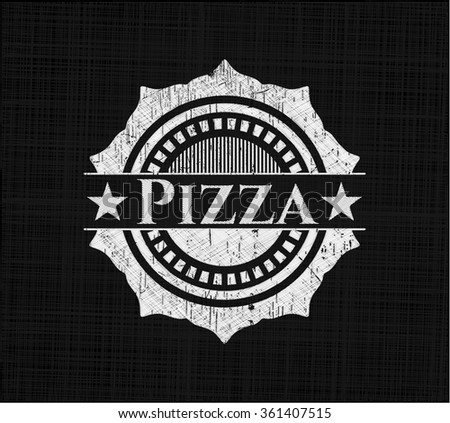 Pizza chalkboard emblem on black board