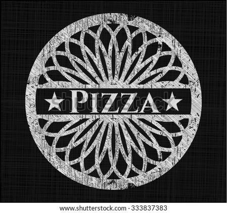 Pizza chalkboard emblem written on a blackboard