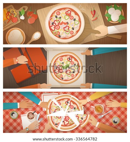 Pizza cooking at restaurant, home delivery and eating together at home, banners set