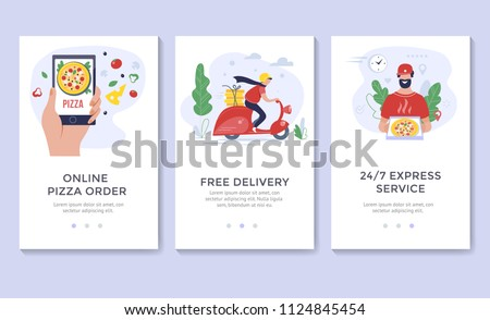 Pizza delivery banner, mobile app templates, concept vector illustration,  flat design