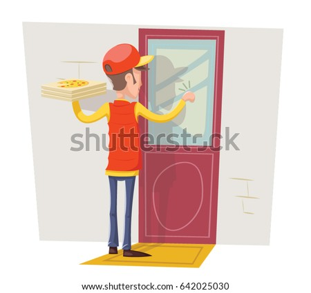 Pizza Delivery Boy Man Box Concept Knocking at Customer Door Wall Background Retro Cartoon Design Vector Illustration