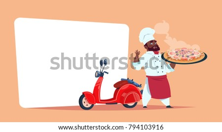 Pizza Delivery Concept African American Chef Cook Hold Box With Hot Dish Standing At Red Motor Bike Template Banner With Copy Space Flat Vector Illustration