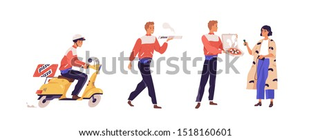 Pizza delivery flat vector illustration. Girl cartoon character receiving pizzeria order. Deliveryman on scooter, guy carrying box with food isolated design elements. Fastfood courier service.