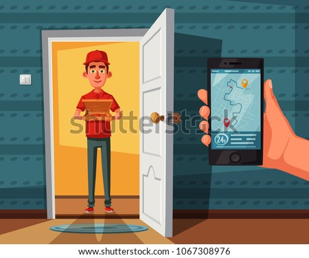 Pizza delivery guy handing pizza box on doorway. Cartoon vector illustration. Delivery order. Open door. Inside of home.