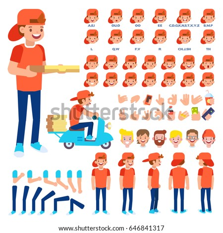 Pizza delivery set with delivery bike and courier. Character creation set with various views, hairstyles, face emotions, lip sync and poses. Parts of body template for design work and animation.