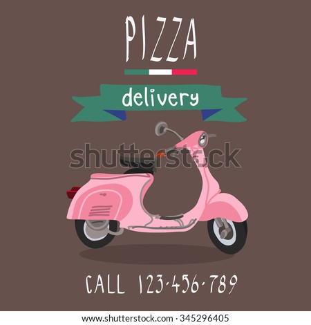 pizza delivery vintage pink