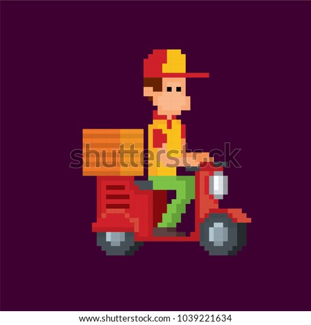 pizza deliveryman on a scooter