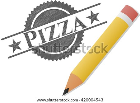 Pizza draw with pencil effect