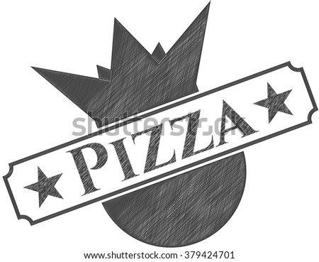 Pizza drawn with pencil strokes