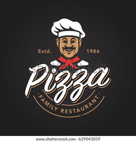 pizza emblem design with...