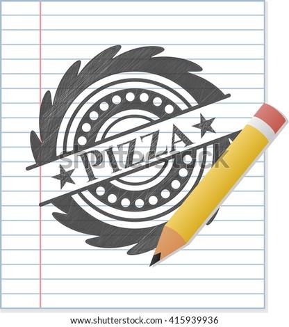 Pizza emblem drawn in pencil