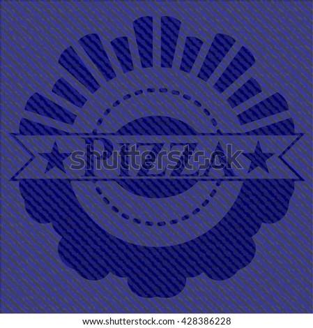 Pizza emblem with jean texture