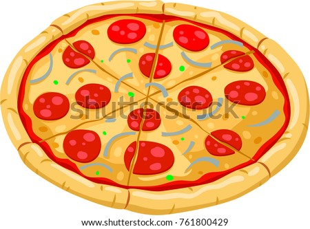Pizza-flat coloring style-illustration for the children