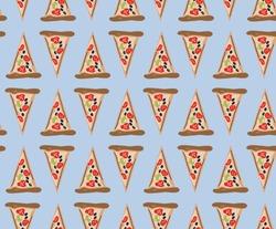 Pizza flat vector seamless pattern. Food pattern. Italian food.