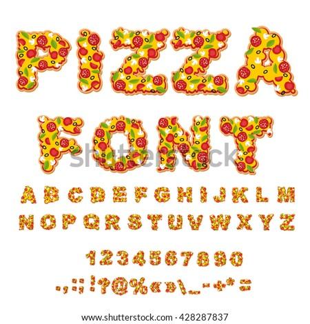 pizza font letters dough food