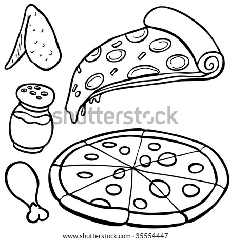 Pizza Food Items Line Art