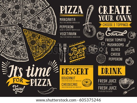 pizza food menu for restaurant