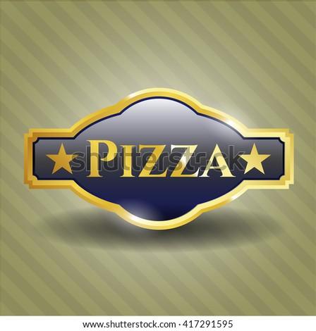 Pizza gold badge or emblem