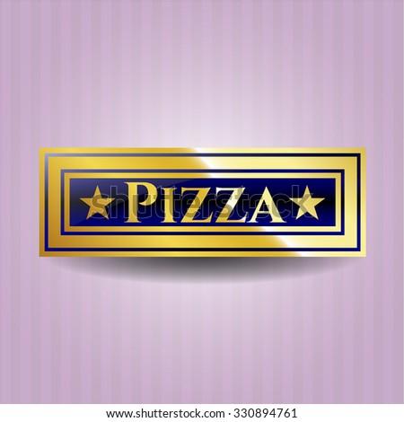 Pizza gold shiny emblem