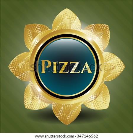 Pizza golden emblem or badge