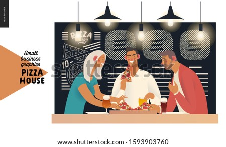 Pizza house - small business graphics - customers. Modern flat vector concept illustrations - restaurant visitors friends eating pizza at the table under the lamps, menu chalk on the blackboard behind
