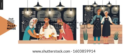 Pizza house -small business graphics -visitors and owners. Modern flat vector concept illustrations - man and woman wearing aprons at the wooden counter, blackboard, chalk lettering, customers