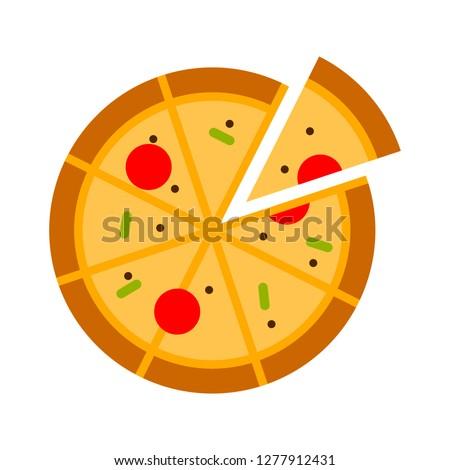 pizza icon - pizza isolate, pizza slice illustration - Vector pizza