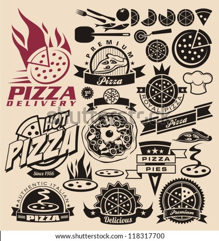 pizza icons  labels  signs