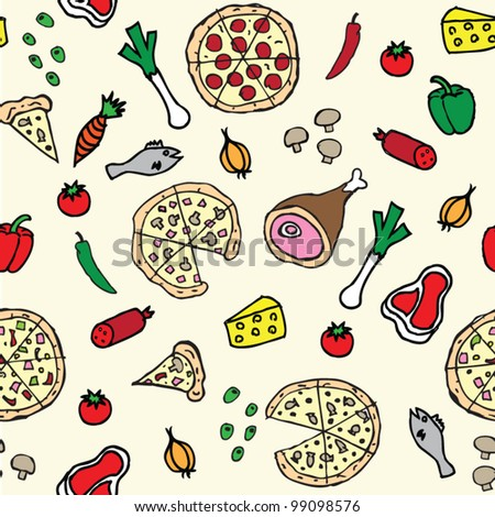 Pizza illustration seamless pattern