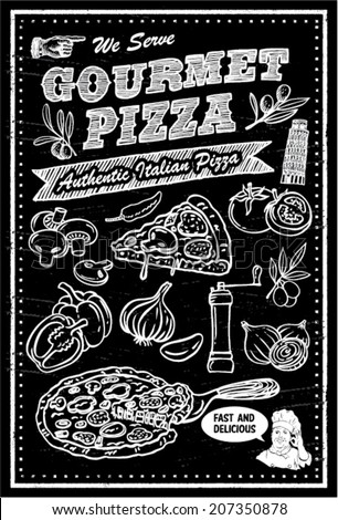 pizza ingredients chalkboard