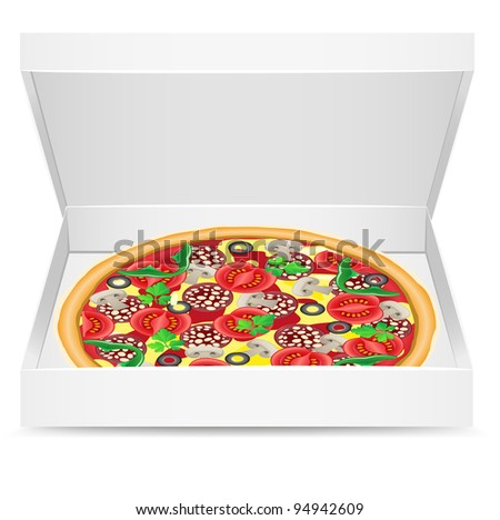 pizza is in a cardboard box vector illustration