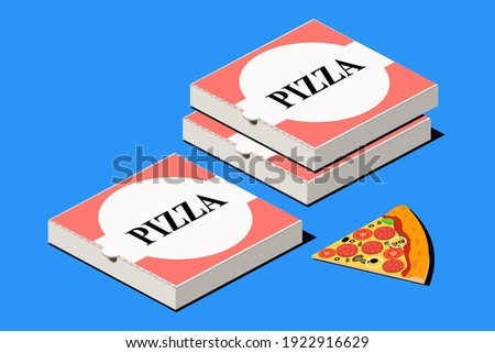 Pizza. Italian fast food. Pepperoni cheese pizza and carton package box in 3D vector isometric illustration.